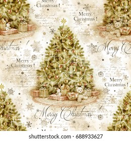 Christmas tree with decoration and gifts, hand paint watercolor illustration, vintage holiday seamless pattern for invitation, decoupage, scrapbooking.