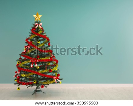 christmas tree decoration in green mint wall room xmas background