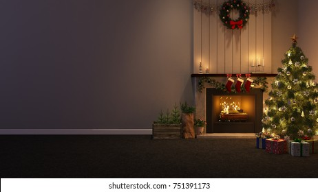 Christmas tree decoration in the room with fireplace - 3D Rendering