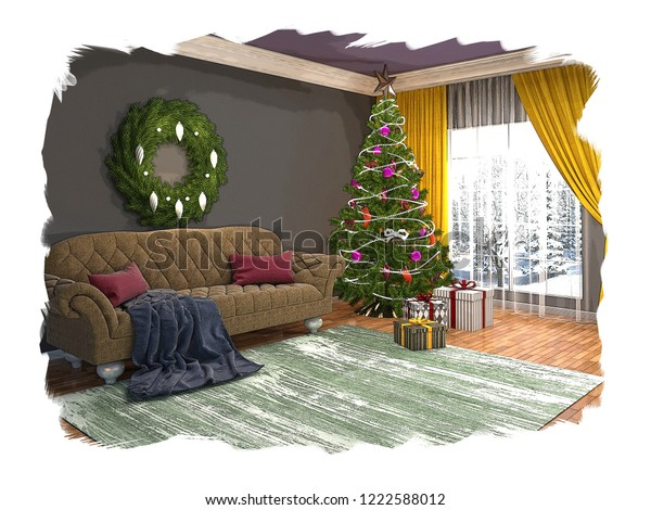 Christmas Tree Decorations Living Room Sketch ...
