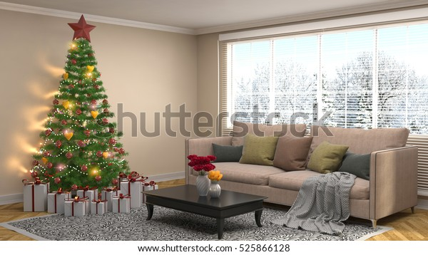 Christmas Tree Decorations Living Room 3d Stockillustration ...