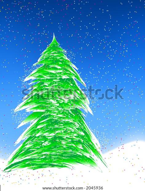 Christmas Tree. Digital illustration. Fractals. Multiple techniques.