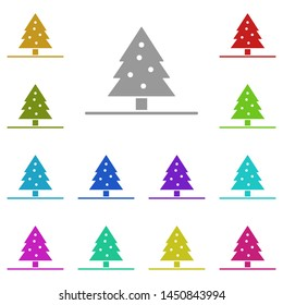 Christmas tree, fir-tree in the snow multi color icon. Simple glyph, flat illustration of Christmas joy icons for UI and UX, website or mobile application