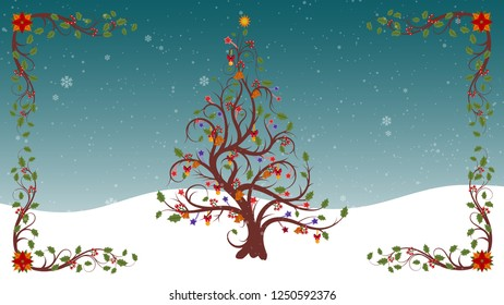 Christmas Tree And Frame Flourishes With Beautiful Snowflakes Falling Background