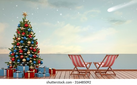 Christmas tree and gift on pier with two deckchair at sunset - 3D Rendering