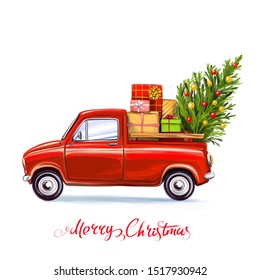 Christmas tree and gifts on the car, Decorative Christmas ornament, art illustration painted with watercolors isolated on white background