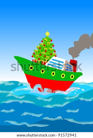 Christmas Tree Gifts Shipping Away By Stock Illustration 91572941 ...