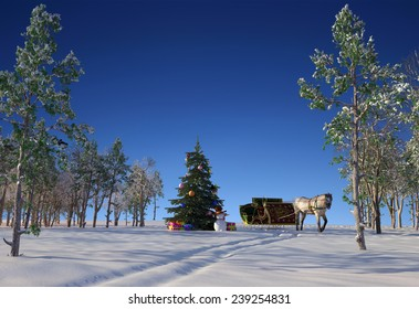 Christmas tree and a horse in the forest.