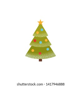 Christmas tree icon. Fir tree green pine in flat design. Winter symbol isolated on white background. Cartoon colorful illustration.