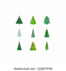christmas tree icons set with white background
