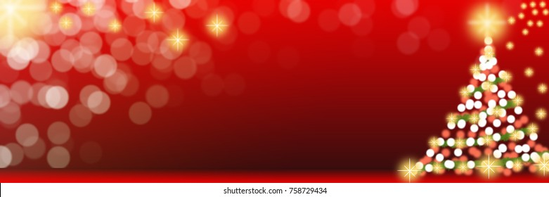 Christmas tree with lights. Red background. Christmas tree glitter, twinkled bright. Can be used for background or wallpaper.