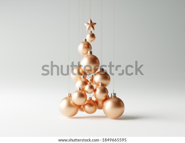 Christmas tree made of copper christmas balls on bright white background. Creative idea concept. 3d rendering