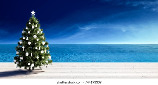 Christmas tree on beach white wooden deck with winter seaview. Christmas vacation concept. / 3d render