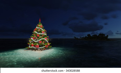 Christmas tree on a tropical island