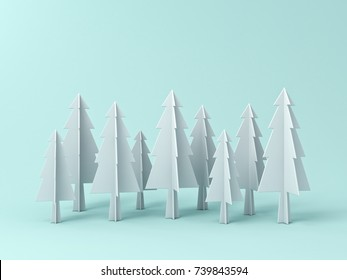 Christmas tree or pines on light green pastel color background for christmas decoration with blank space . 3D rendering.