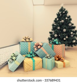 Christmas tree with presents 3d Rendering