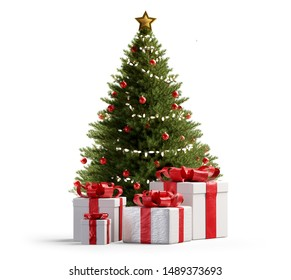 Christmas tree and presents 3d-illustration