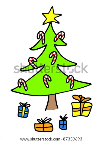 Christmas Tree Presents Colorful Childlike Drawing Stock