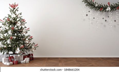 christmas tree, presents and decoration in empty living room, white mockup wall, 3D Illustration