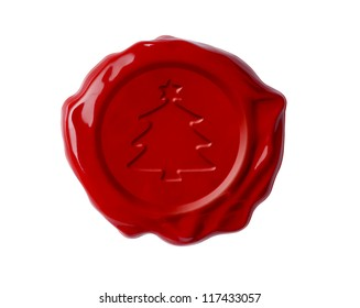 Christmas tree red wax seal isolated on white