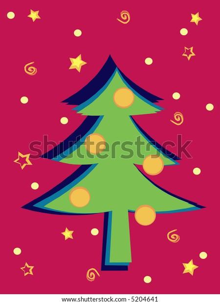 Christmas tree in retro colors scheme