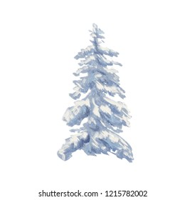 Christmas tree in the snow. Digital painting