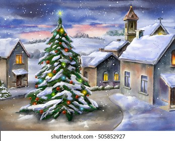 Christmas tree in a snowy landscape. Hand-painted illustration.