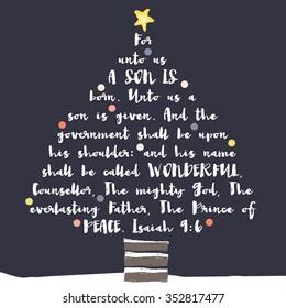 Christmas Tree Typography Bible Verse Christian Bible Verse Christmas Card
