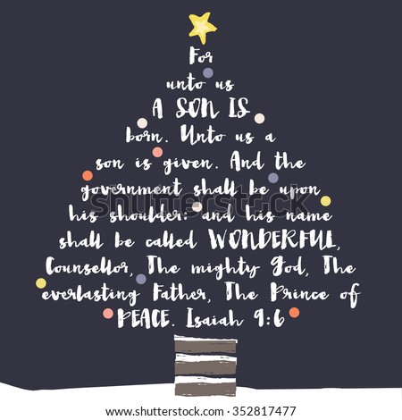 Christmas Tree Typography Bible Verse Christian Stock Illustration ...