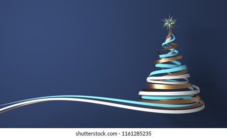 Christmas Tree From White, Cyan And Gold Tapes On Blue Background. 3D Illustration.
