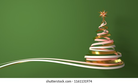 Christmas Tree From White, Pink And Gold Tapes Over Green Background. 3D Illustration.