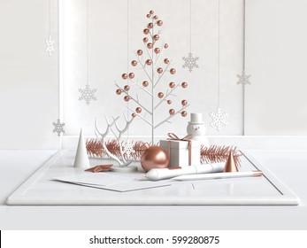 Christmas tree White-Copper Illustrator concept center composition white room 3D Rendering