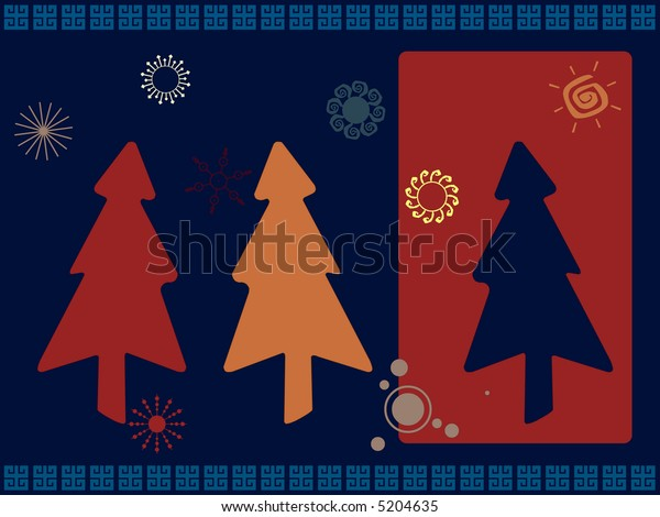 Christmas trees in retro colors scheme