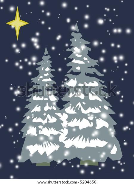 Christmas trees in retro colors scheme