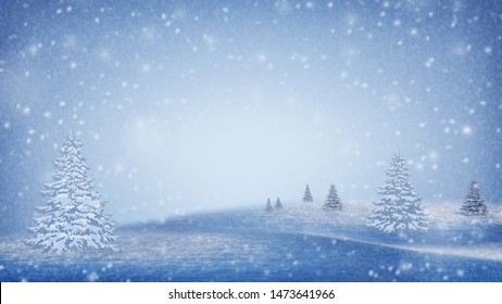 Christmas trees in the snow. Blizzard, frost. Panorama.Winter natural background. Forest in the snow. New Year's landscape. Night in the mountains. Winter sky and snowy Christmas trees.