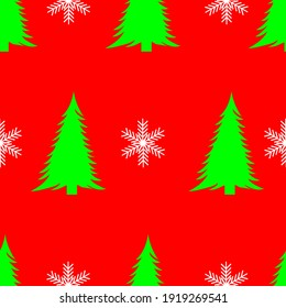 Christmas trees and snowflakes, seamless pattern