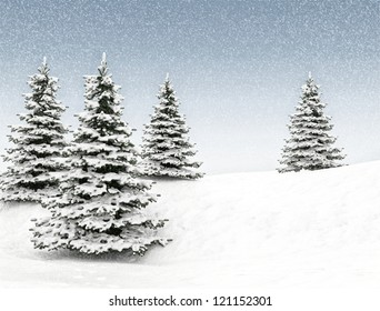 Christmas trees through snow. Blue sky and snowflakes