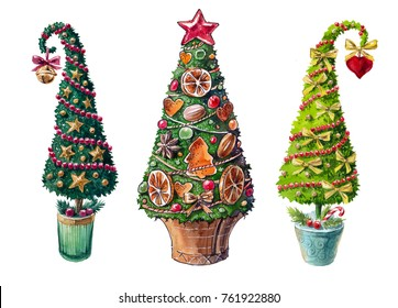 Christmas trees (topiary) on the white background (isolated)