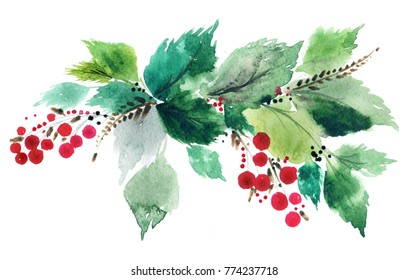 Christmas twig with berries.  Watercolor postcard.