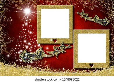Christmas two photo frames greetings cards. Santa Claus sleigh, geese and stars Christmas tree with two golden  empty photo frames to put photo or write message on red paper background