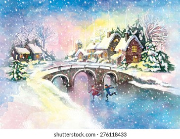 Christmas village with children scate