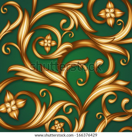 Christmas Vintage Curled Pattern Emerald Green Gold Ornate Lattice Background
