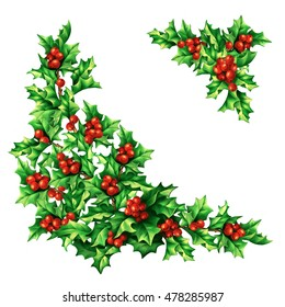 Christmas vintage holly berries corners, digital hand drawn illustration for design, greeting card, invitation, wrapping paper, decoupage.