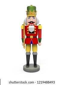 Christmas vintage wooden nutcracker toy. 3D image on white background