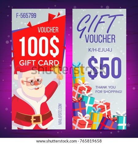 Christmas Voucher Template Vertical Card Happy Stock Illustration