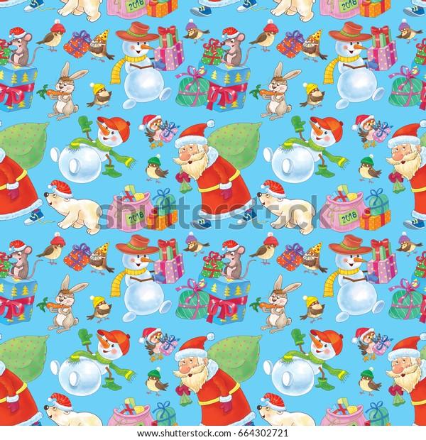 christmas wallpaper cute santa snowmen 600w 664302721