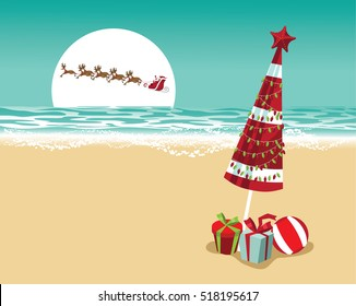 Christmas in a warm climate background. Santa Claus delivers gifts over a Beach umbrella with Christmas lights and Christmas gifts.
