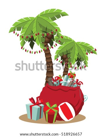 Christmas In A Warm Climate Palm Tree With Christmas Lights And Christmas Gifts Cartoon