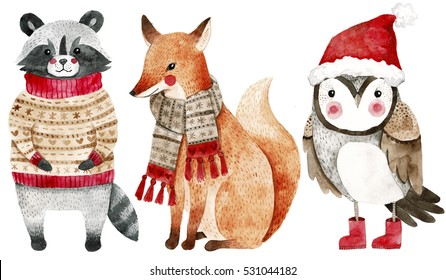 Christmas watercolor animals set: fox, raccoon and bird like owl. Cute kids illustration,perfect for greeting or post cards, prints on t-shirts, phone cases,book and other. Hand drawn  baby animals.