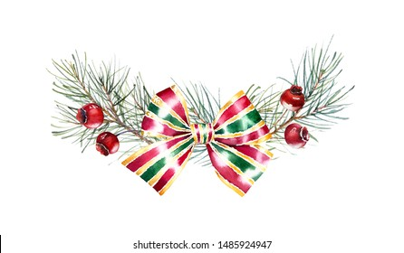 Christmas watercolor arrangement. Hand painted illustration with pine tree, red berries and bow. Winter holiday background isolated on white for greeting card and wrapping paper